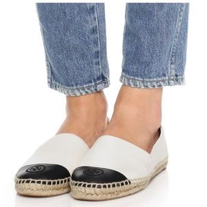 NWT Tory Burch ColorBlock Leather  Espadrille Flat